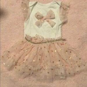 White Top with Pink Tulle Gold Stars Skirt